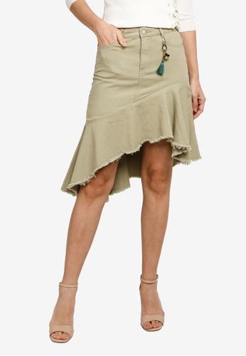 Hopeshow green Asymmetrical Ruffle Hem Denim Mini Skirt 77F1CAA02ACCA4GS_1