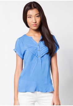 Pleated Short Sleeves Blouse