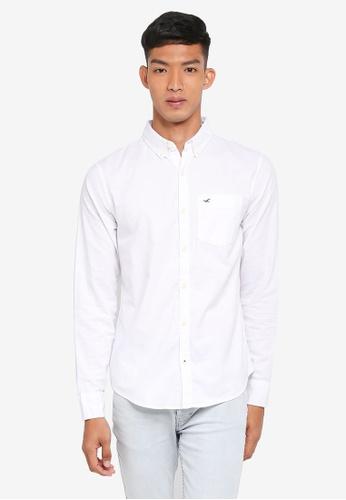 Hollister white Long Sleeve Oxford Shirt 12971AAA8E0D14GS_1