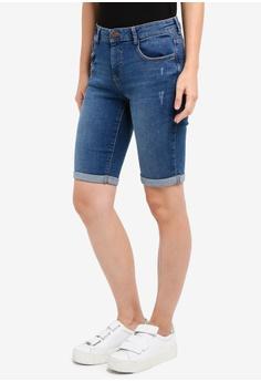 e9bd87d2465f Dorothy Perkins blue Washed Indigo Knee Shorts 1E322AA2612A87GS 1