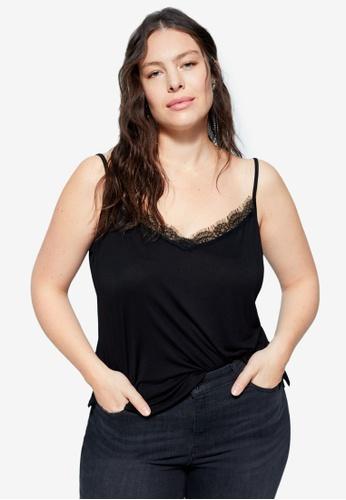 Violeta by MANGO black Lace Top 54037AA5AF288FGS_1