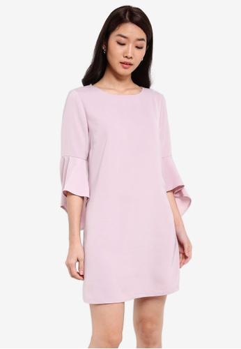 ZALORA pink Fit & Flare Sleeves Shift Dress 08B99AAF25519BGS_1
