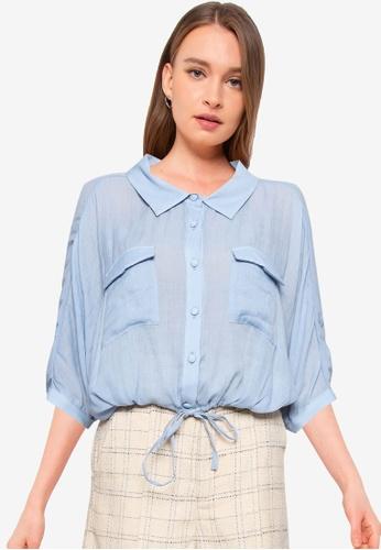 Heather blue Tie Hem Shirt F8050AA8CDF94DGS_1