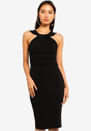 Goddiva black Pleated Neckline Midi Dress 20D45AA29967C9GS_1