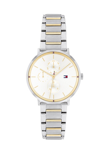 Tommy Hilfiger Watches white Women's Two Tone Stainless Steel Bracelet and White Dial Quartz Multifunction Watch A6341AC2A18927GS_1
