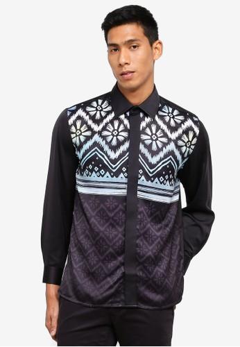 Gene Martino black Men's Batik Shirt C7B9FAAB3F6D73GS_1