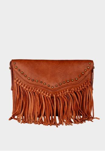 London Rag brown WomenCamel Tassel Sling Bag 55F64AC6464102GS_1
