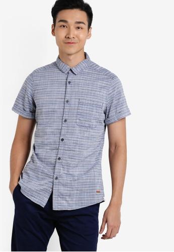 ESPRIT navy Short Sleeve Woven Shirt ES374AA73WYKMY_1