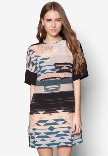 zalora 心得 ptt幾何印花連身裙, 服飾, 短洋裝