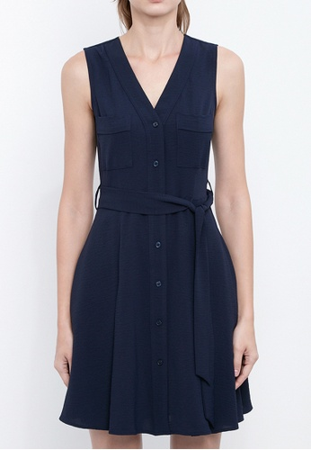 Dkny navy DKNY Women V Neck Tie Front Dress B5E9AAA7B5D694GS_1