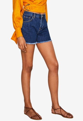 Mango blue Frayed Hem Denim Shorts 9EEFFAA62528C2GS_1