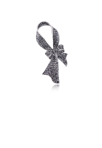 Glamorousky black Fashion and Elegant Ribbon Brooch with Cubic Zirconia 52782AC68282C0GS_1
