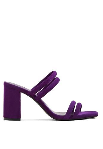 Mango 紫色 繞帶粗跟涼鞋 C3DAFSH0505B1AGS_1