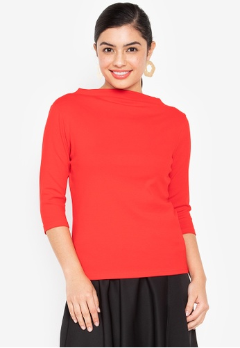 Wear Kris red Kingpin High Neck Rib Knit Top With Elbow Sleeves 0809FAAF8B11C4GS_1