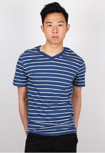 Moley navy Striped V-Neck T-Shirt MO329AA56JWXSG_1