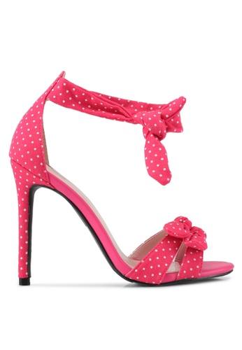Velvet 粉紅色 點點蝴蝶結高跟鞋 34C30SH828125DGS_1