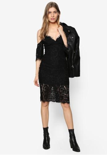 Carrie 蕾絲挖肩低胸zalora 評價洋裝, 服飾, 洋裝