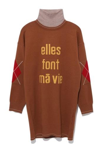 tout à coup brown Elles Font Ma Vie sweater dress 69A37AA667E39FGS_1