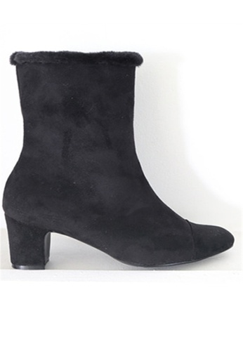 Crystal Korea Fashion black Korean Made Suede Leather With Warm Boots CR681SH2WDLUHK_1