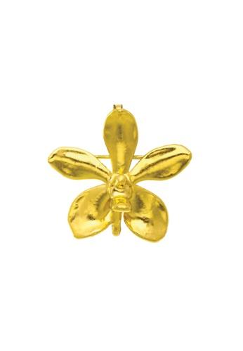 RISIS gold RISIS 24K Gold Plated Natural Aeridovanda Vieng Ping Orchid Brooch/Pendant 743FBACE92E1F9GS_1