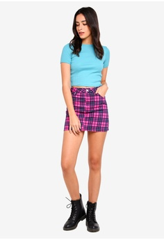 e6dff2b8b628b 60% OFF TOPSHOP Pink Check Denim Skirt S  76.90 NOW S  30.90 Sizes 6 8