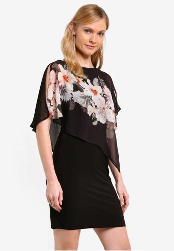 Wallis black Petite Black Floral Print Overlay Dress WA800AA0ROOQMY_1