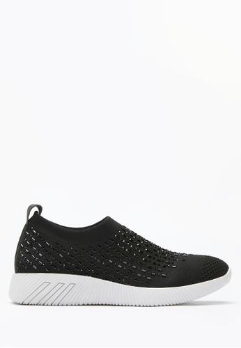 PAZZION black Crystal Sock Sneakers 26DB5SHCB7519EGS_1