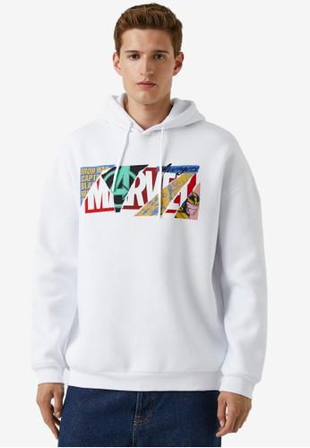 KOTON white Print Hoodie 4A86CAAA7E5C2BGS_1