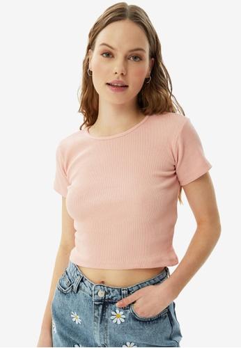 Trendyol pink Rib Knit Tee 30A5FAAF461150GS_1