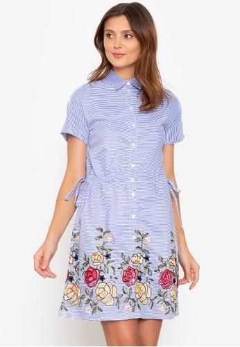 Beyond The Seams blue Lalaine Stripes Embroidered Drawstring Waist Dress 3F2E3AA6917935GS_1