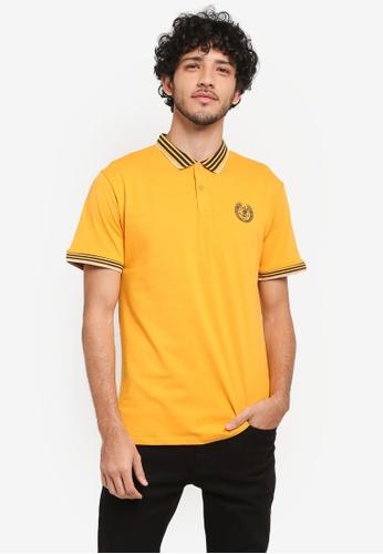 Fidelio yellow Lining Collar & Sleeves Casual Polo Shirt FD5C7AA4A12FE7GS_1