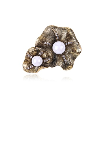 Glamorousky white Fashion Vintage Plated Gold Geometric Imitation Pearl Brooch with Cubic Zirconia 88CDAACA5010A5GS_1