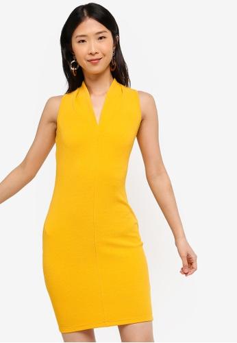 ZALORA BASICS yellow Basic V-Neck Bodycon Dress 70E81AAF66A38DGS_1