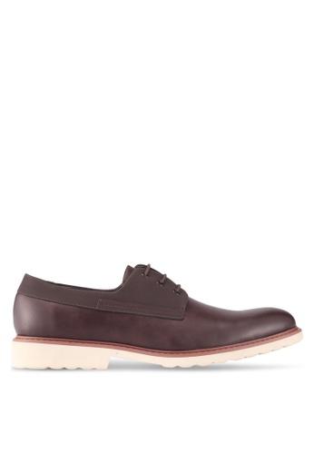 ZALORA brown Mix Material Faux Leather Lace-Up Dress Shoes A97D1SHBC86922GS_1