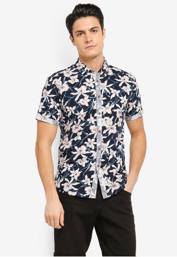 JAXON black and multi Printed Short Sleeve Shirt 4D3C6AA01B63EFGS_1