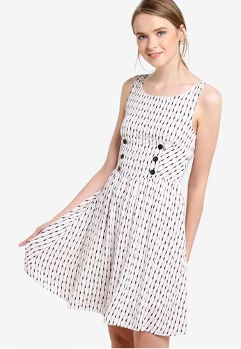 印花無袖連身裙esprit官網, 服飾, 洋裝