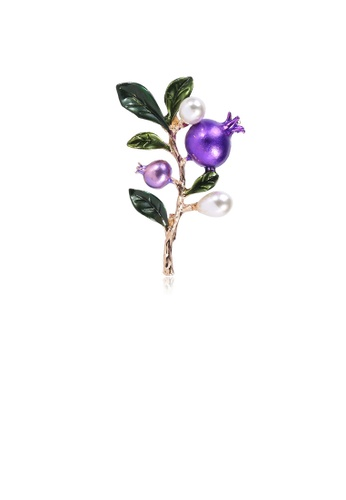 Glamorousky white Simple and Elegant Plated Gold Pomegranate Tree Imitation Pearl Brooch 0E0F5ACB500D0AGS_1
