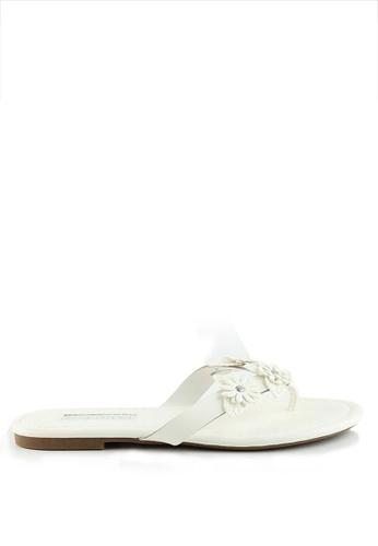 London Rag white London Rag Women's White Flat Sandals With Floral Details SH1082 LO360SH0GWSMSG_1