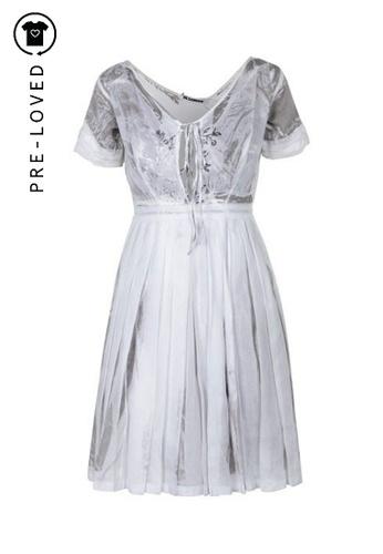 Jil Sander white Pre-Loved jil sander White Print Pleated Dress D5117AA440460CGS_1