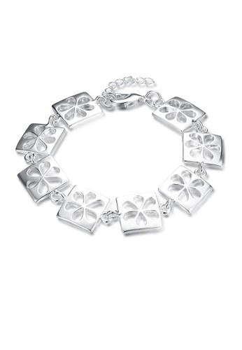 Glamorousky silver Fashion Simple Hollow Flower Square Bracelet 23F73AC4150ADDGS_1