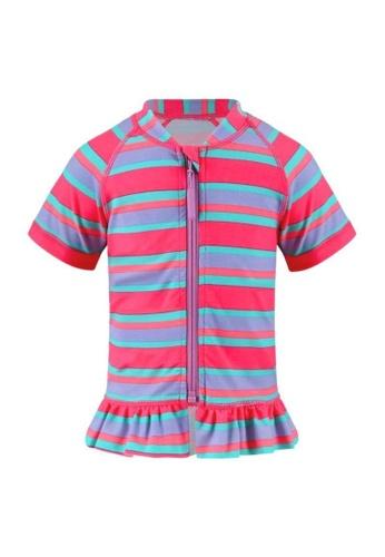 FUNFIT pink UPF50+ Junior Sunsuit Ruffles (Unisex) in Contrast Bubblegum Print C4AABKA5FB9AD3GS_1