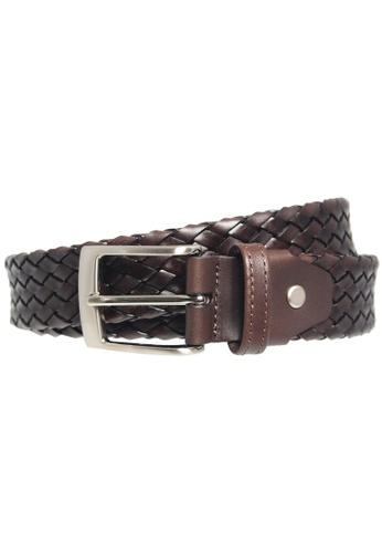 72 SMALLDIVE brown 34 mm Weave Leather Belt Dark Brown 3C062AC9F6025BGS_1