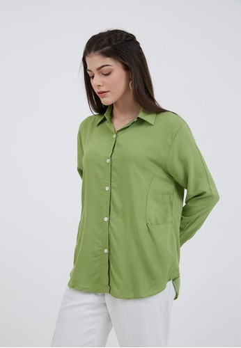 Berrybenka Label green Sophie Hestia Pocket Shirt Light Olive 050F2AA4AFEE9EGS_1
