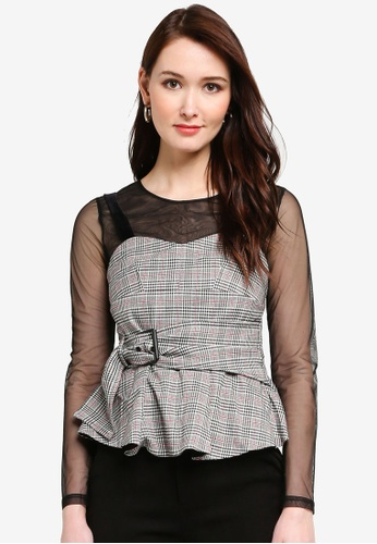 Hopeshow beige Mesh Blouse With Checkered Tank Top B4140AAD7FA338GS_1