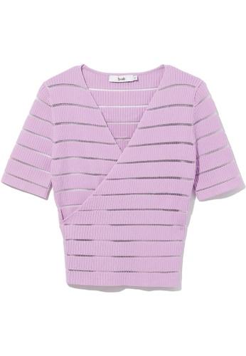 b+ab purple Striped knit sweater 0F31CAA9D1A813GS_1