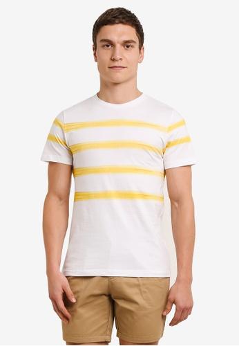 ZALORA white and yellow Printed Brush Strokes Tee 03D55AA3E73DA4GS_1
