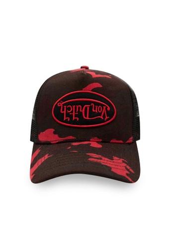 Von Dutch black and red Von Dutch Red Rambo Camo Trucker Cap DB8F4AC358EC84GS_1