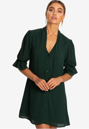REUX green Verona Mini Dress 9122CAA2FE477CGS_1
