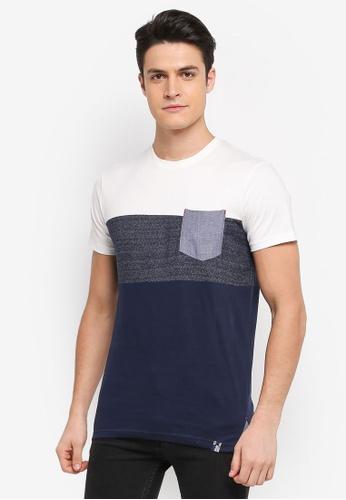 Indicode Jeans 海軍藍色 短袖撞色口袋T恤 D1107AA7BC7B96GS_1