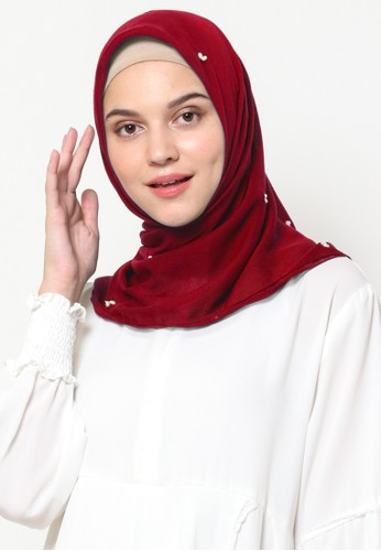 KASHKHA red Hijab Square Cotton All Over with Stone by Kashkha / W19SHCAHJBKP8900L - Red 5FF71AAC888230GS_1